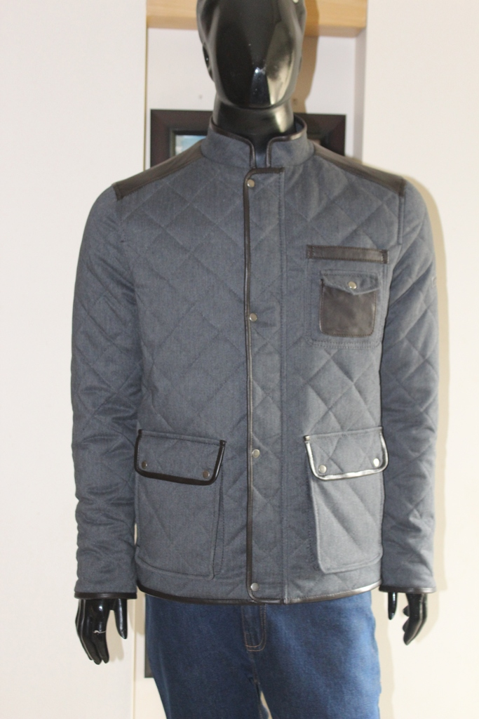 MU-0117-M FABRIC JACKET WITH LEATHER TRIMS CHARCOAL HASH FABRIC (1)