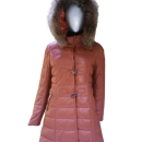 Puffer Winter Jacket real fox fur in the hood edge for women-Brown